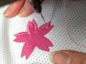 桜吹雪刺繍 加工の様子