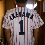 ヤクルトスワローズ1990-1998ホームユニフォーム(白x赤縦縞)IKEYAMA 1