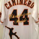 カミネロ投手のユニフォームに刺繍
